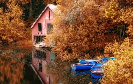 Фотообои домик у озера