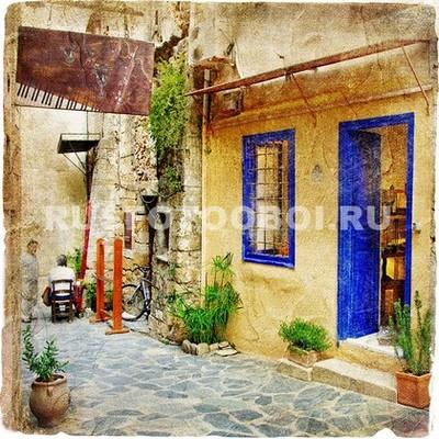 Синяя дверь с окном