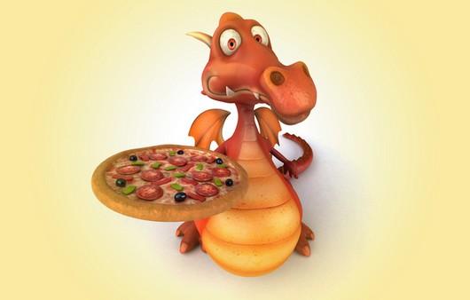 Дракон с пиццей в 3Д