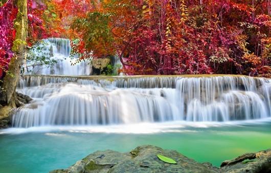 Водопад на фоне красных деревьев