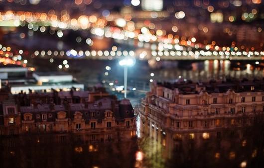 Тилт шифт ночного города