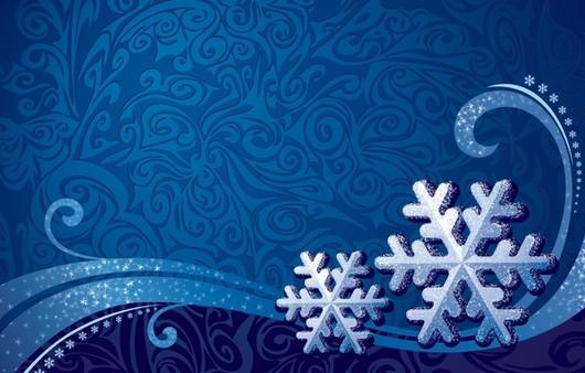 Снежные узоры на синем фоне