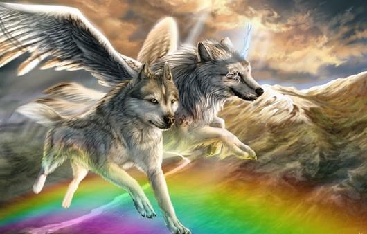 Крылатые волки на фоне радуги