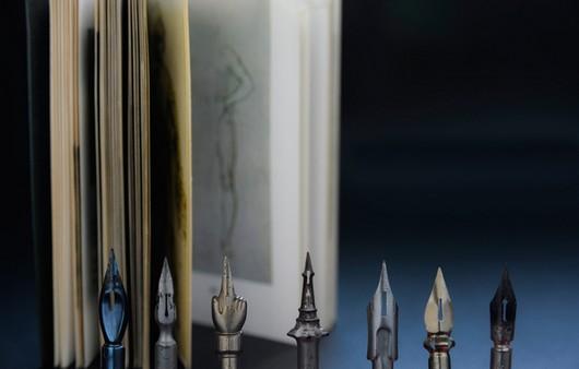 Перья и книга в макросъемке