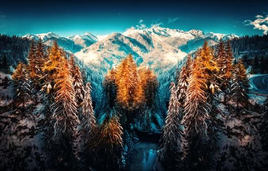 Горный пейзаж с деревьями