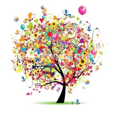 Фотообои Разноцветное дерево