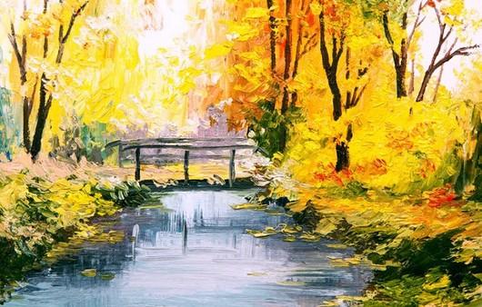 Картина с осенним видом и мостом