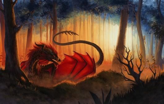 Фантастический дракон с крыльями