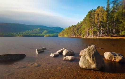 Гладкая река с камнями