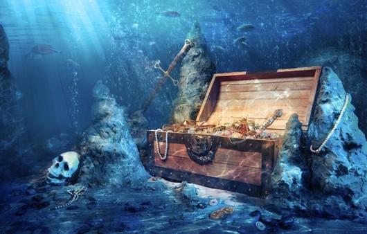Пиратский сундук на дне моря