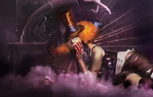 Девушка клоун в парике