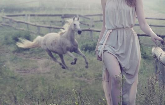 Девушка и бегущий навстречу конь