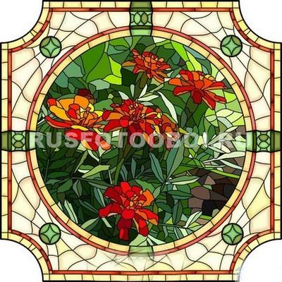 Витраж цветы