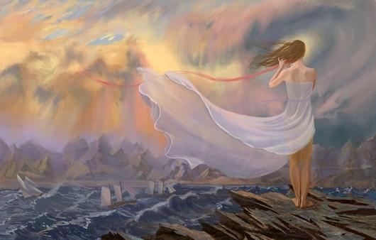 Фотообои Девушка в белом платье у моря