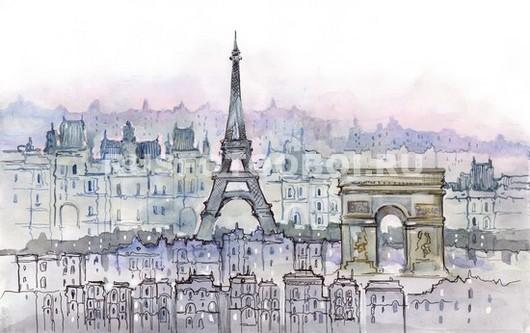 Париж рисунок акварелью