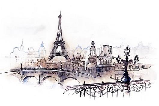 Набережная Парижа рисунок