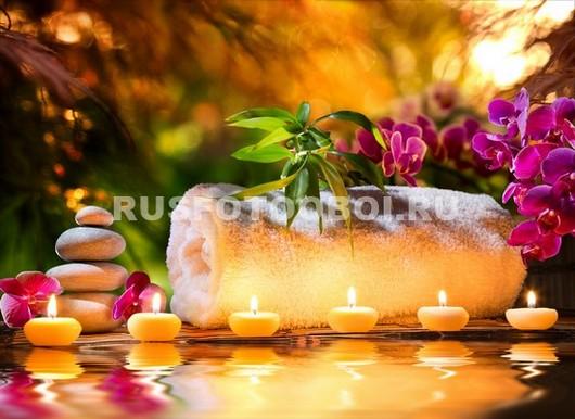 Свечи камни и цветы