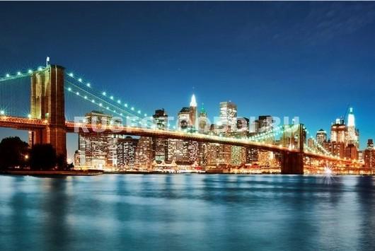 Бруклинский мост в голубых тонах