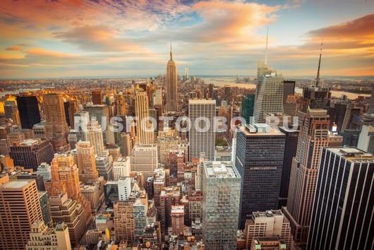Фотообои Нью-Йорк небоскребы на закате