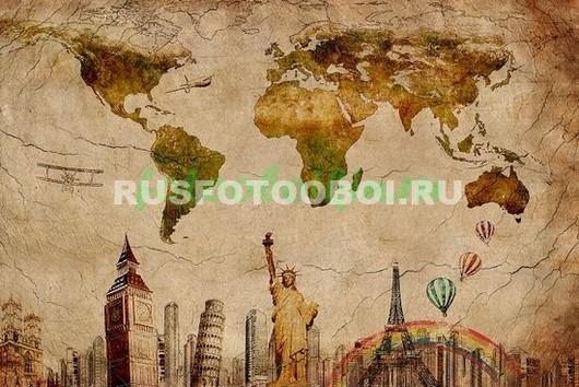 Карта с достопримечательностями мира
