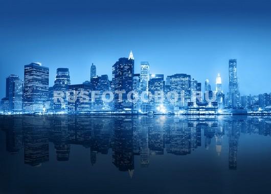 Фотообои Синий городской пейзаж