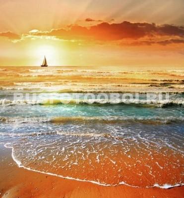 Фотообои Закат на море 3д