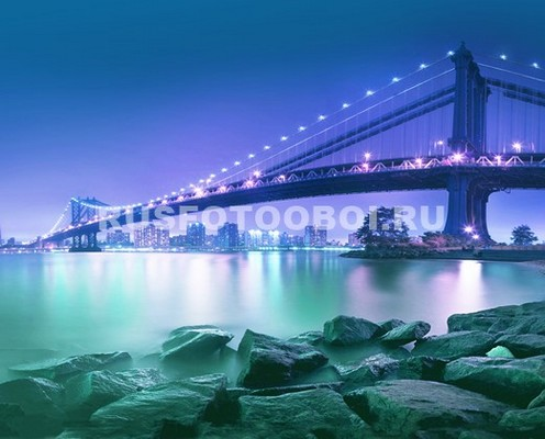 Фотообои Бруклинский мост 3д вид с берега