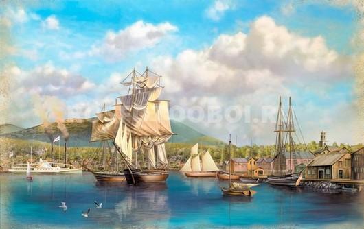 Фотообои Парусники на пристани