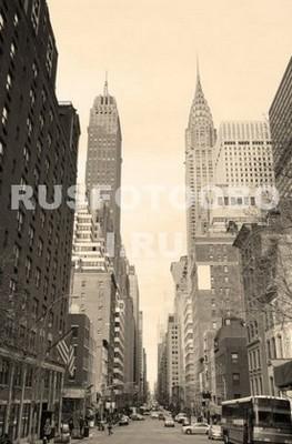 Улица Нью-Йорка цвет сепия