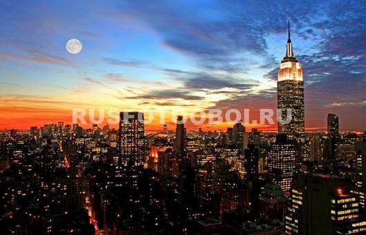 Фотообои Нью-Йорк оранжевый закат
