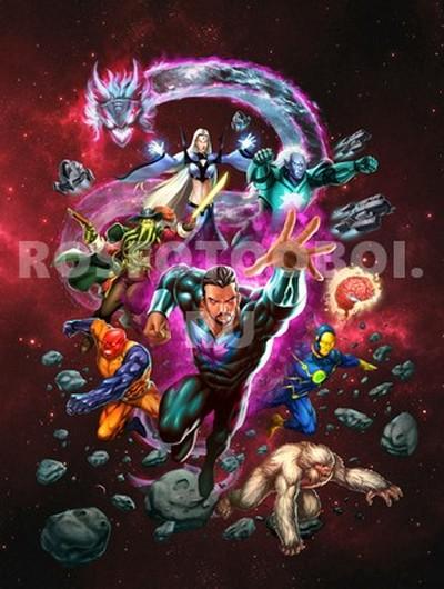 Фотообои Супергерои на красном фоне
