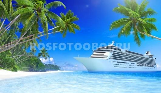 Фотообои Белый корабль в море