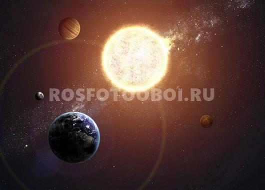 Земля на фоне солнца