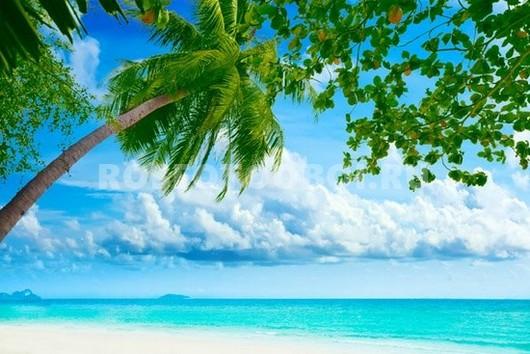 Пляж с голубым морем