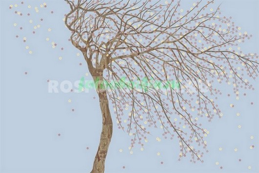 Дерево на голубом фоне