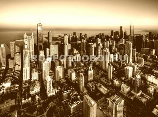 Нью-Йорк вид на небоскребы в цвете сепия