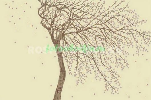 Дерево на бежевом фоне