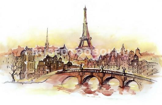 Эйфелева башня в розовых тонах