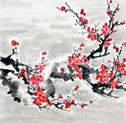 Ветка с красными цветами