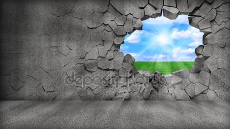 Сломанная бетонная стена