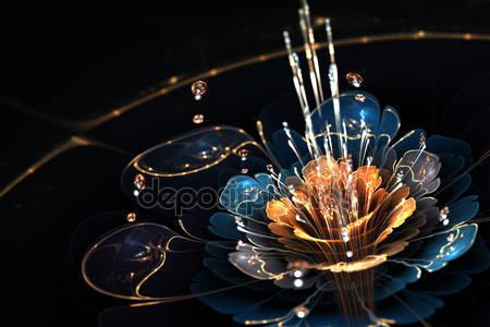 Цветок с капельками воды