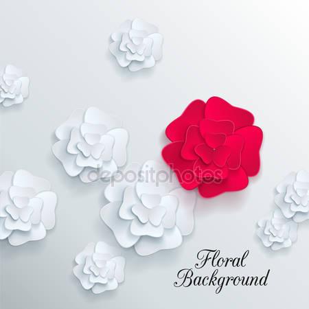 Романтический фон с 3d цветами