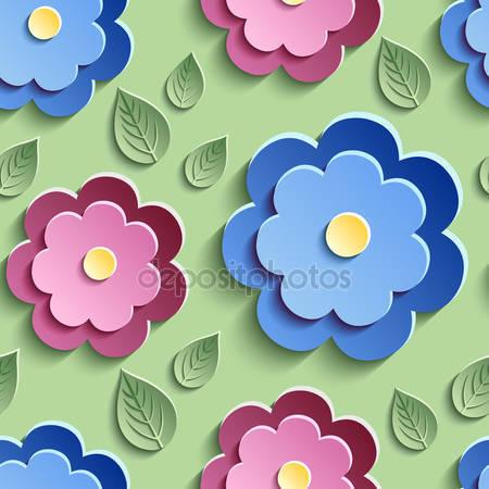 Цветочный фон с красочными 3d цветами