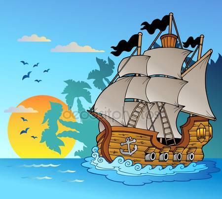Старое судно с остров силуэт