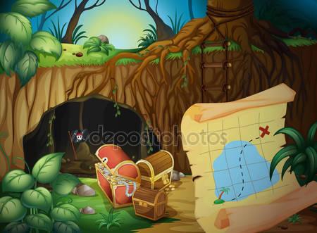 Сундук с сокровищами и карта