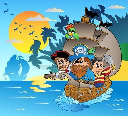 Три пираты в лодке вблизи острова