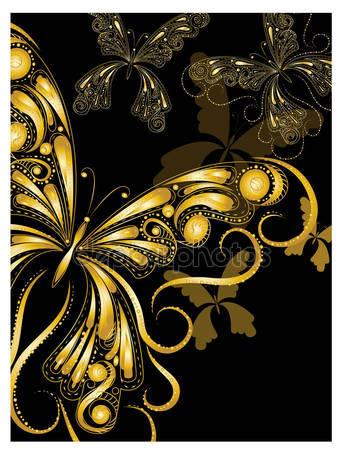 Векторные старинные золотые бабочки