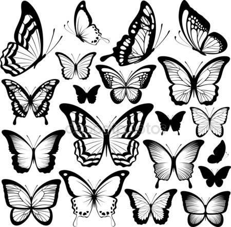 Бабочка черные силуэты