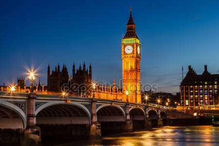 Биг бен и палаты парламента ночью