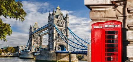 Тауэрский мост и красные телефонные будки в лондоне